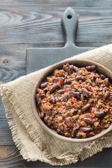 Tazón de chili con carne