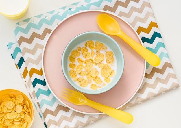 Tazón con copos de avena y leche