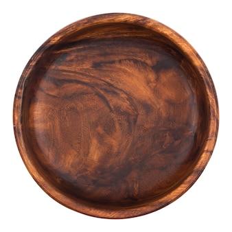 Tazón de madera vacío aislado en blanco, vista superior