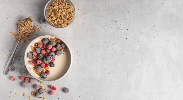 Tazón de yogur casero con granola y bayas congeladas cubiertas con escarcha sobre fondo gris, endecha plana