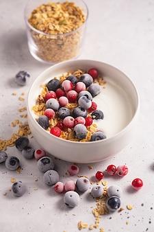 Tazón de yogur casero con granola y bayas congeladas cubiertas con escarcha