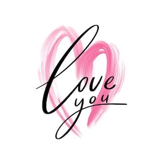 Te amo letras elemento de diseño de escritura a mano