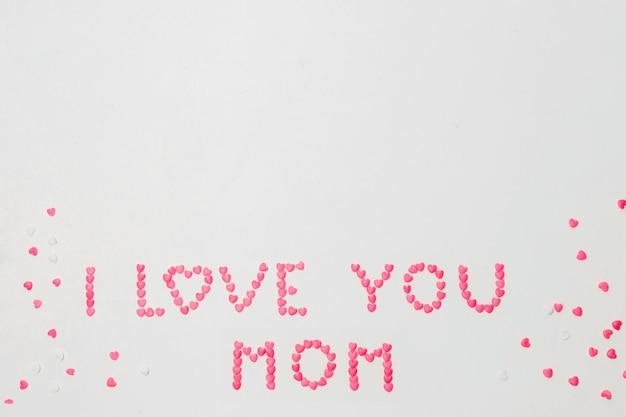 Te amo mamá titulo de simbolos de corazones