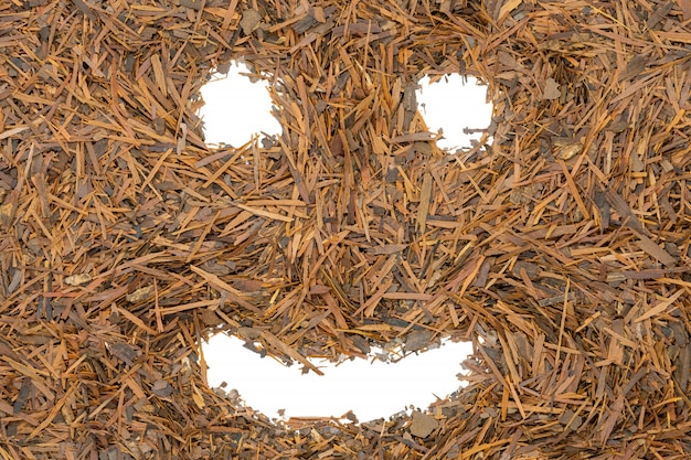 Té de lapacho de hierbas, sonrisa divertida cara, de cerca.