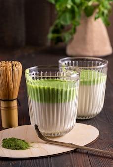 Té con leche verde matcha, polvo de matcha y batidor de bambú sobre madera
