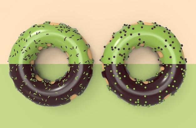 Té verde doble delicioso de donut matcha y chocolate oscuro con el desmoche en colores dulces, ilustración 3d.