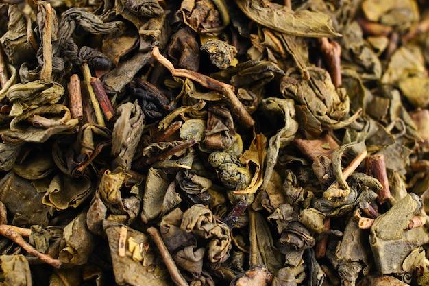El té verde se seca de cerca