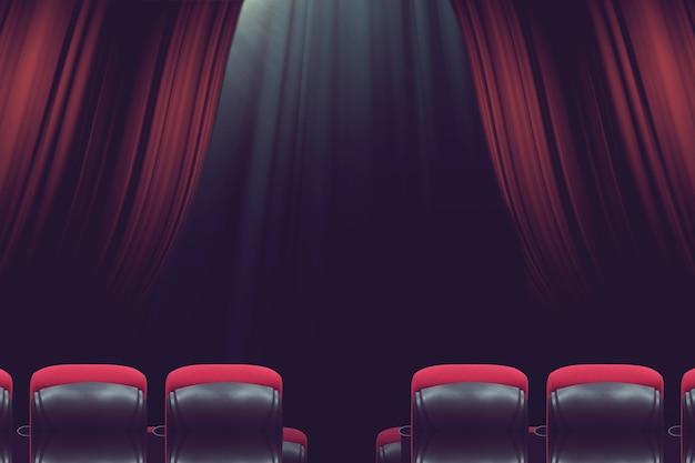 Teatro en el auditorio vacío o cine con asientos rojos antes del show.