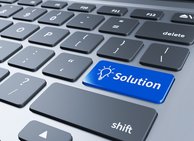 Teclado con botón de soluciones. teclado de computadora con botón de soluciones ilustración 3d