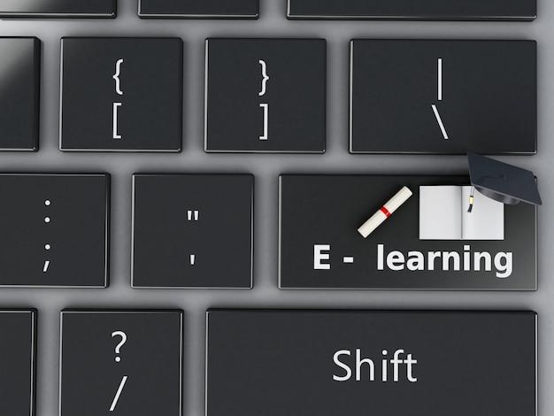 Teclado de la computadora 3d. concepto de educacion