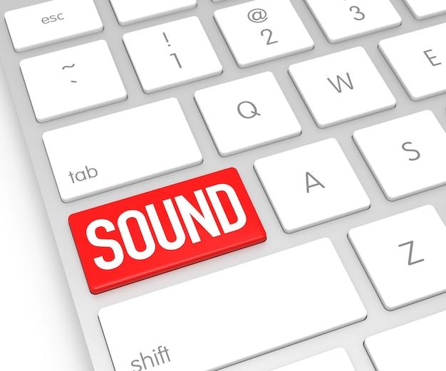 Teclado de computadora con botón de sonido representación 3d