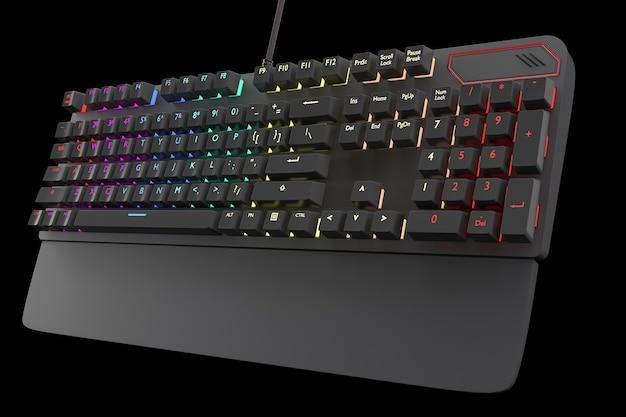 Teclado de computadora negro con color rgb aislado