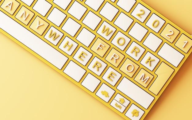 Teclado de computadora con trabajo amarillo desde el texto de inicio sobre fondo amarillo - representación 3d del concepto covid-19