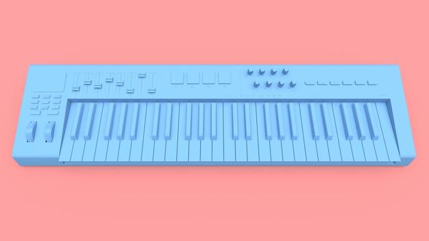 Teclado midi sintetizador azul sobre fondo rosa. primer plano de teclas de sintetizador