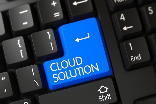 Teclado moderno con solución en la nube en el botón azul enter