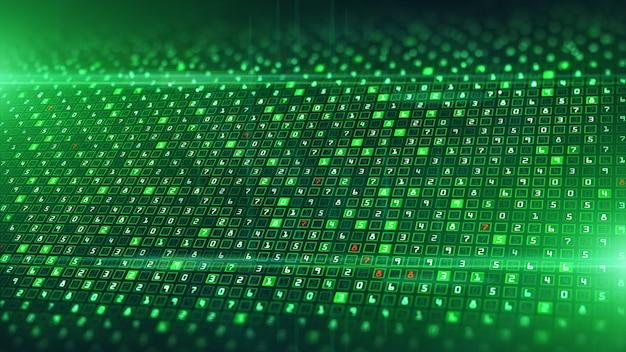 Tecnología análisis de datos digitales y codificación binaria de datos.
