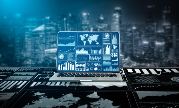 Tecnología de big data para empresas. finanzas analítica, informe masivo de información de venta comercial.