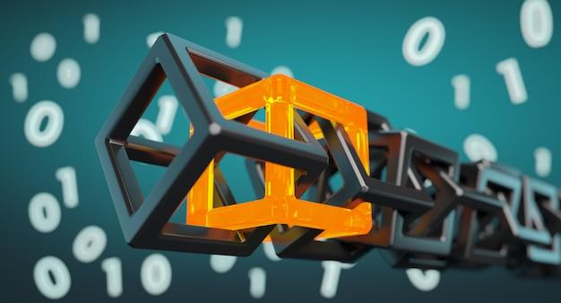Tecnología blockchain - cadena de código digital