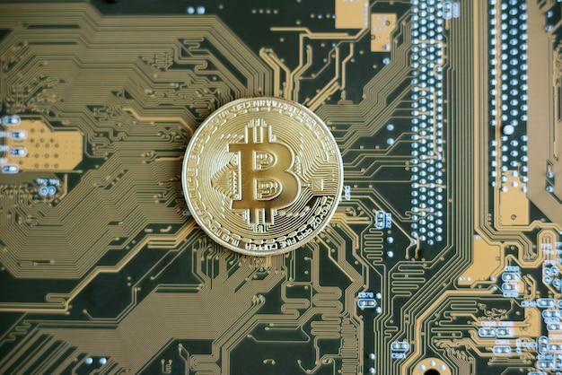 Tecnología blockchain, concepto de minería de bitcoin.