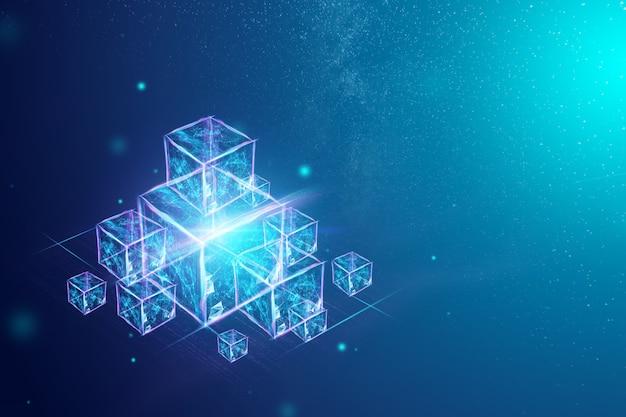 Tecnología blockchain, fondo ultravioleta.