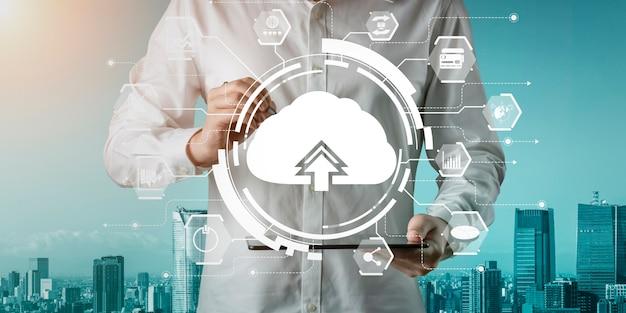 Tecnología de computación en la nube y almacenamiento de datos en línea para compartir información global