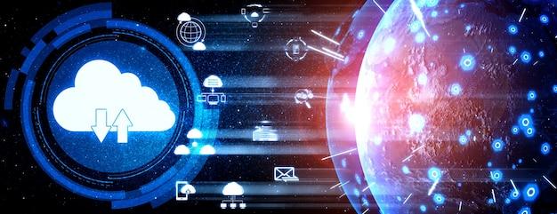 Tecnología de computación en la nube y almacenamiento de datos en línea para el concepto de red empresarial.