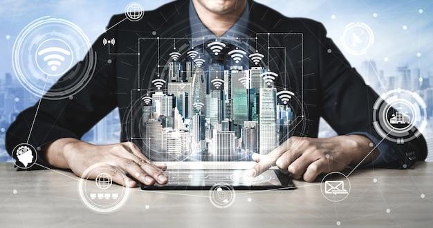 Tecnología de comunicación 5g red inalámbrica de internet para el crecimiento empresarial global, redes sociales, comercio electrónico digital y entretenimiento para uso doméstico.