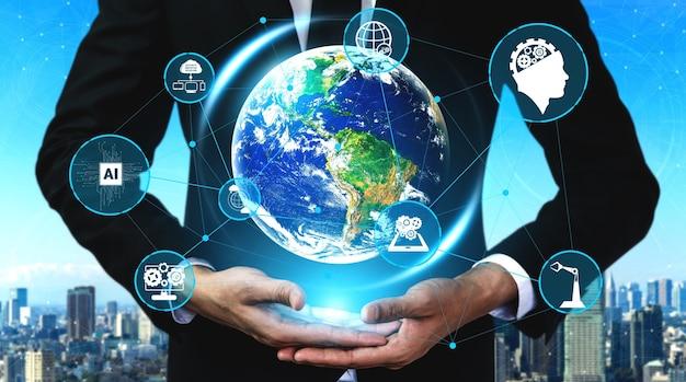 Tecnología de comunicación 5g red inalámbrica de internet para el crecimiento empresarial global, redes sociales, comercio electrónico digital y entretenimiento para uso doméstico