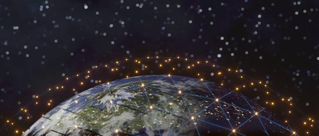 Tecnología de comunicación para negocios en internet. red mundial y telecomunicaciones en la tierra, renderizado 3d