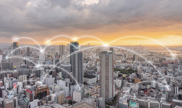 Tecnología de conexión de red en la ciudad.