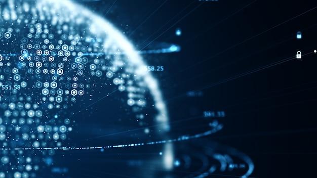 Tecnología de datos de código binario en red que transmite conectividad.