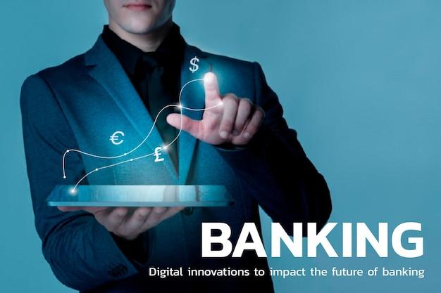 Tecnología financiera bancaria con fondo de símbolos de moneda