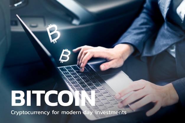 Tecnología financiera bitcoin con empresaria usando antecedentes de laptop