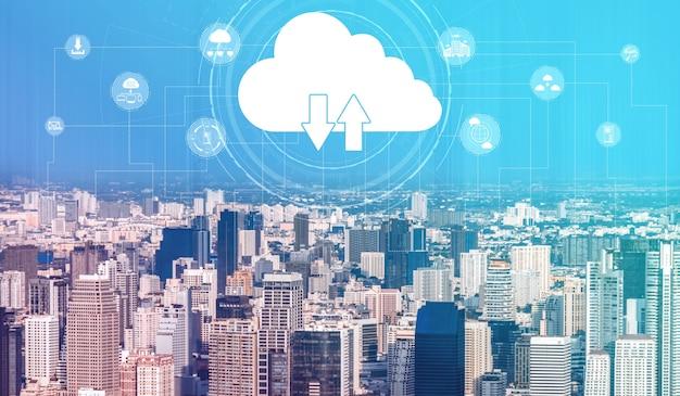 Tecnología informática en la nube y almacenamiento de datos en línea para el concepto de red empresarial.