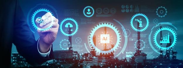 Tecnología de ingeniería e industria 4.0 concepto de fábrica inteligente