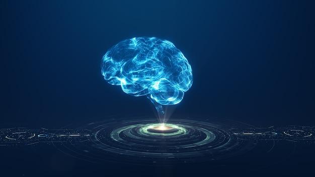 Tecnología inteligencia artificial (ai) concepto de datos digitales de animación cerebral. análisis de flujo de big data. tecnologías modernas de aprendizaje profundo. innovación en tecnología cibernética futurista. red digital rápida.