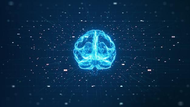 Tecnología inteligencia artificial (ai) concepto de datos digitales de animación cerebral. análisis de flujo de big data.