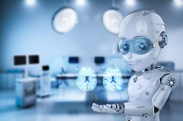 Tecnología médica con renderizado 3d lindo robot analizar tomografía cerebral de rayos x