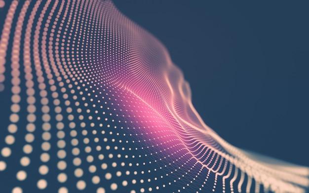 Tecnología de moléculas con formas poligonales, puntos y líneas de conexión.
