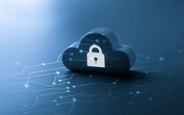 Tecnología en la nube con candado para el concepto de seguridad en línea