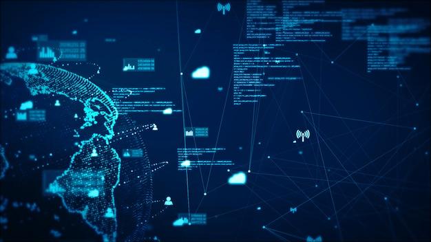 Tecnología de red digital de datos y comunicación concepto abstracto fondo. elemento tierra proporcionado por la nasa.