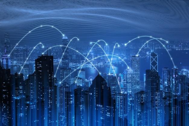 Tecnología de red de internet y concepto de ciudad inteligente