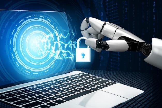 Tecnología de seguridad cibernética y protección de datos en línea por robot ai