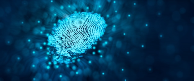 La tecnología de seguridad futura el escaneo de huellas dactilares proporciona acceso de seguridad concepto de seguridad de huellas dactilares