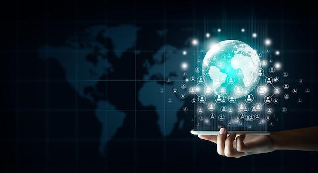 Tecnología de teléfonos inteligentes de negocio de telefonía moderna y concepto de tecnología de comunicación moderna