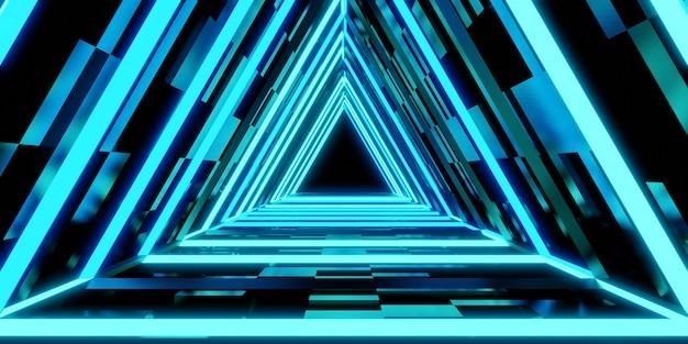 Tecnología de túnel láser puerta de pasillo triangular de luz de neón ilustración 3d