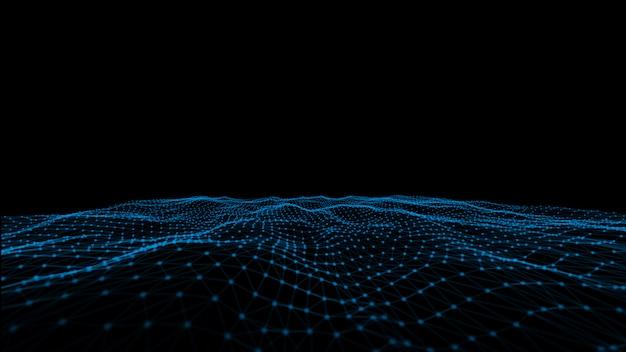 Tecnologías resumen espacio poligonal bajo poli oscuro fondo oscuro con puntos y líneas de conexión. estructura de conexión. fondo poligonal futurista. fondo de pantalla de negocios triangular.