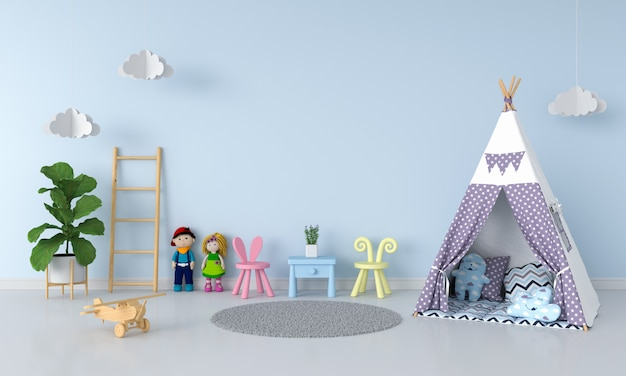 Teepee en el interior de la habitación infantil para maqueta