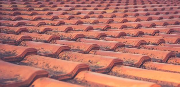 Tejas de tejado mohosas del vintage rojo en los rayos del sol naciente.