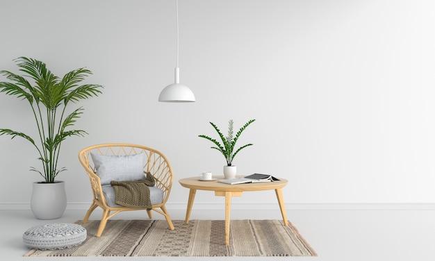 Tejer silla de madera en sala blanca para maqueta